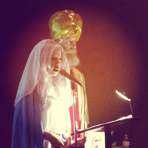 Pastor Kate Durbin and Guru Rugu perform Turbani Rugduke Guru Urchch. Photo: Sarah Williams.