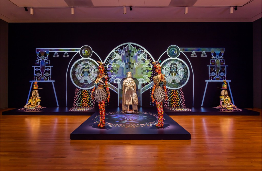Saya Woolfalk. ChimaTEK Life Products, 2015; installation view, Disguise: Masks and Global African Art, 2015, Seattle Art Museum. © Seattle Art Museum. Photo: Nathaniel Willson.