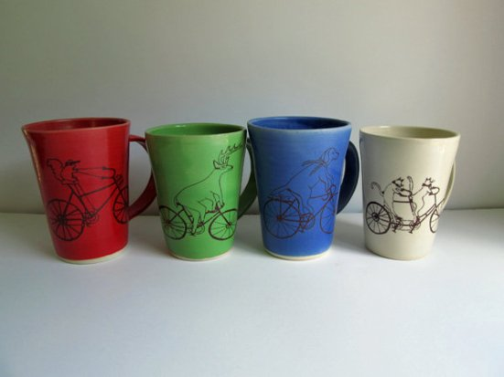 Animals Riding Bikes Mugs by Heidi Fahrenbacher