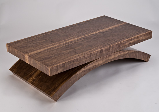 Black Walnut Rectilinear Coffee Table by Enrico Konig