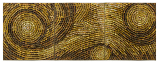 Gold Coils Triptych (Fiber Wall Art) by Tim Harding