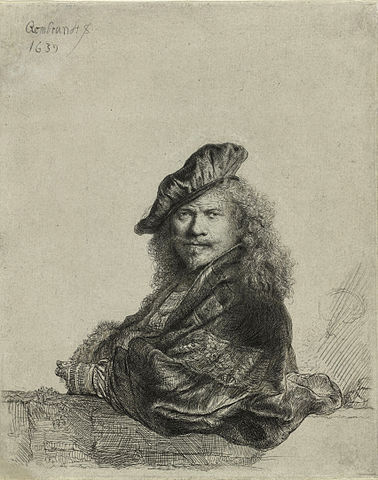 """Self-portrait leaning on sill,"" etching by Rembrandt van Rijn"