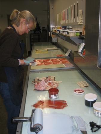 artist Midge Black at work in her studio