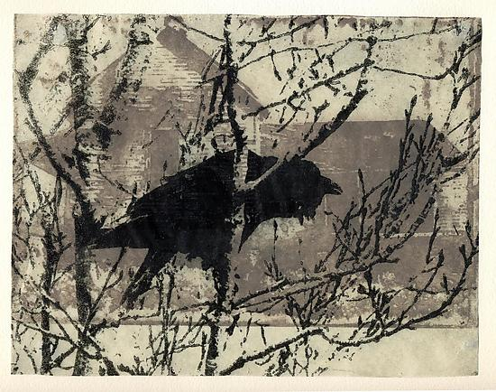 Mill Road by Midge Black is a photo etching created from two different photographs with additional drypoint, aquatint, and etched details.