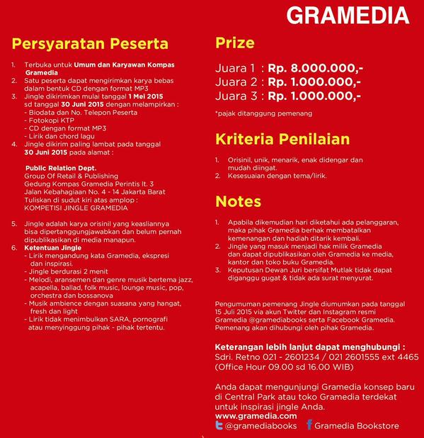 Flyer Lomba Jingle Gramedia 2015