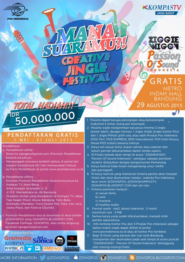 Poster Lomba Jingle Kompas TV & PT POS Indonesia 2015