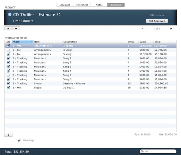 Estimasi budget suatu proyek juga bisa dibuat pada Audio Studio Manager