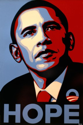 Shepard Fairey silkscreen print for USA Democrat President Barack Obama Obey Giant