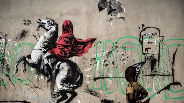 Street Artistes Pochoir d'un cavalier, rues de Paris, 2018