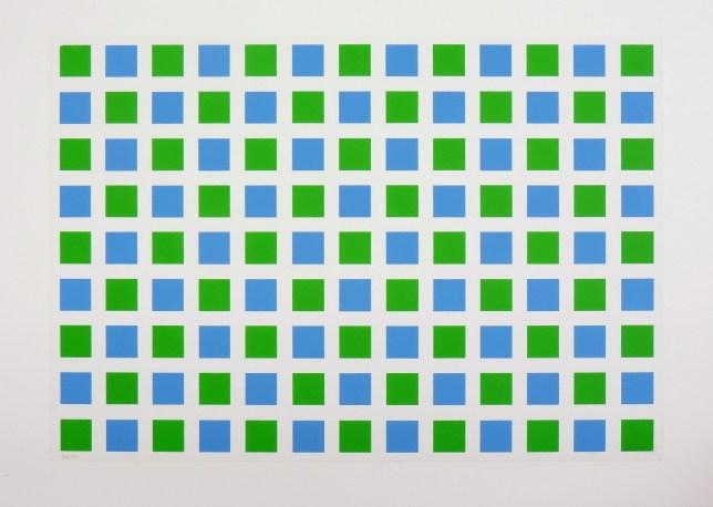 morellet géométrique vert bleu Abstraction géométrique