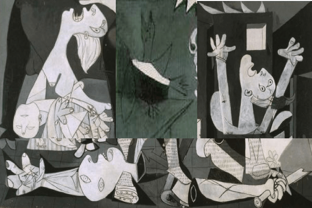 Pablo Picasso, Guernica, Close-Up of Women, Man with Sword and the Dove