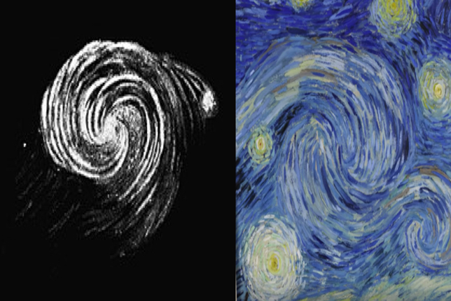 Close-up of the nebula and spiral in Starry Night, Van Gogh, 1845