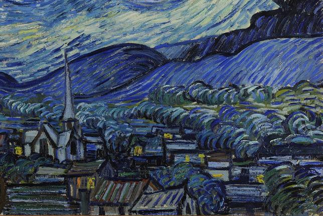 village et clocher la nuit étoilée Van Gogh
