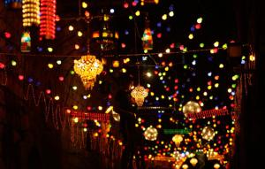 Ramadan (Holly Month) in Cairo, colorful street lights,