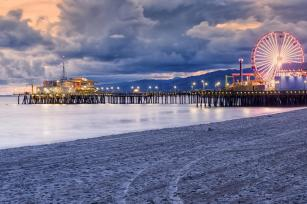 Santa Monica Beach at night, California