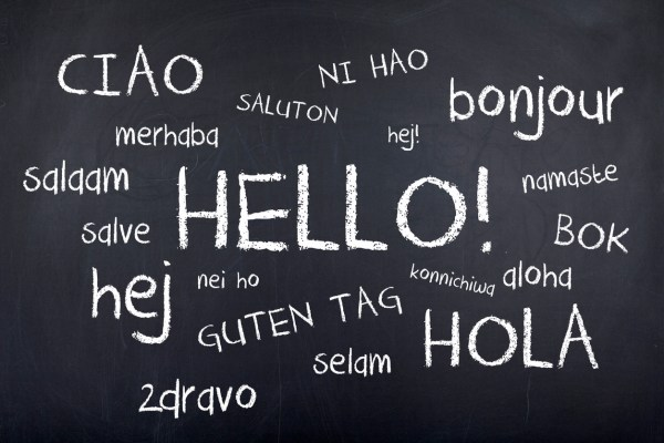 Hello in different languages word cloud on blackboard