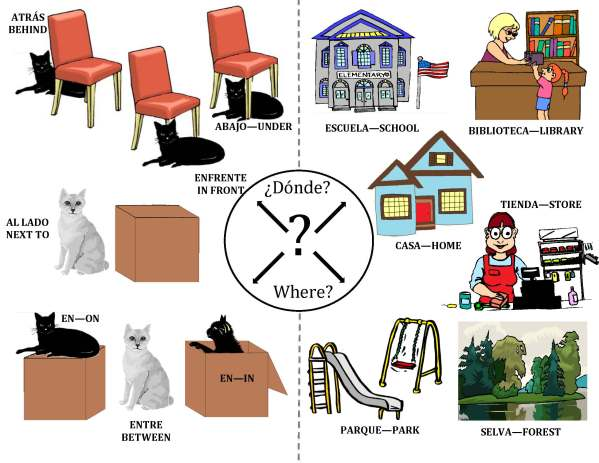 donde? Where? graphic of images answering this question
