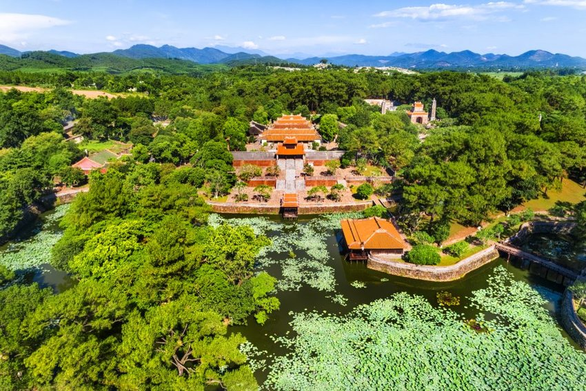 Aerial view of Vietnam ancient Tu Duc royal tomb in Vietnam