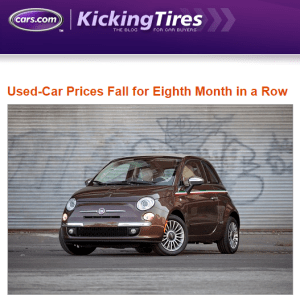used car prices continue to fall cars.com featured image