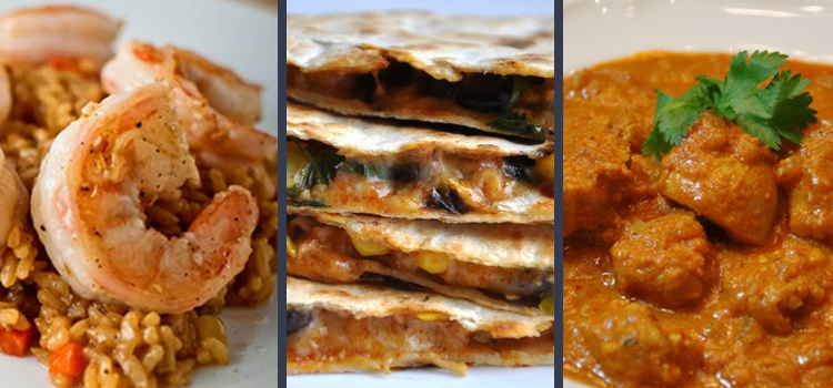 healthy stove top recipes, picture with rice pillaf on the left black bean quesadillas in the center and chicken masala on the right, 3 healthy stove top recipes