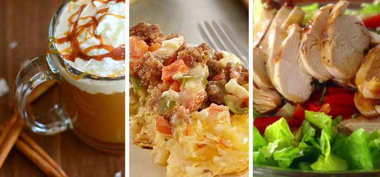3 awesome food recipes for the road, rving recipes, picture of cozy apple cider on the left with a sausage cheesy potato frittata in the middle and an asian chicken salad on the right