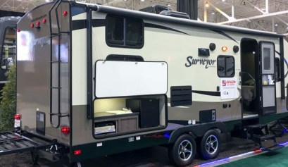 thinking of buying a rv, picture of forest river surveyor travel trailer from avalon rv center at the cleveland ohio rv show, forest river surveyor,