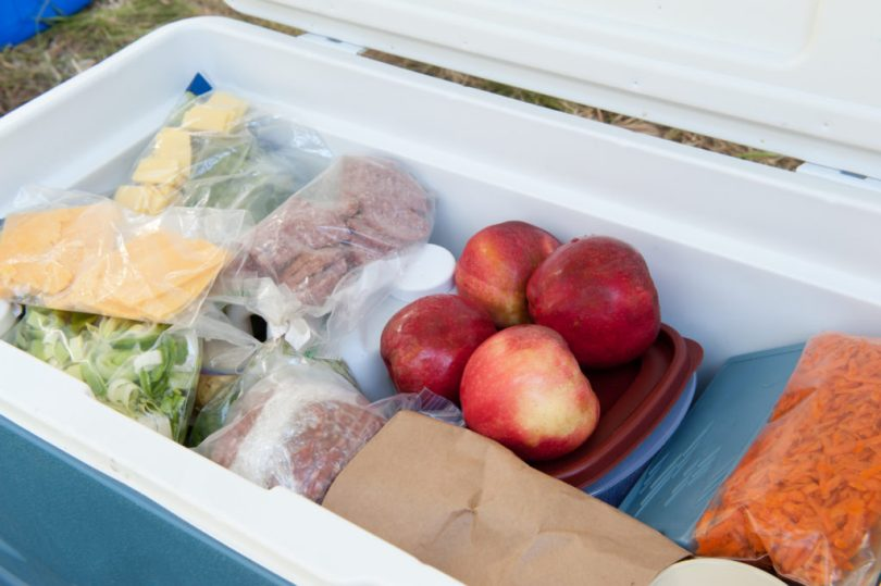 Cooler filled with food for a camping trip.