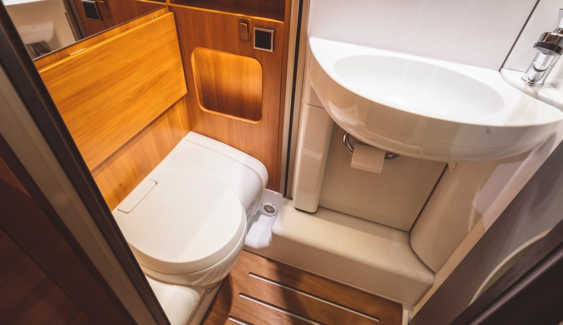 Toilet in a luxury RV wet bath
