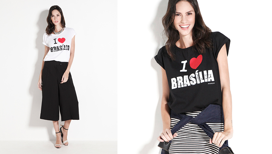 T-Shirt I Love Brasília | Nessa coleção, reeditamos a t-shirt em uma nova modelagem, mais moderna. Compre agora na Avanzzo Online