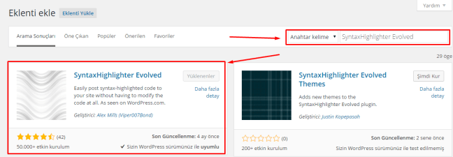 Wordpress SyntaxHighlighter Evolved Kullanımı