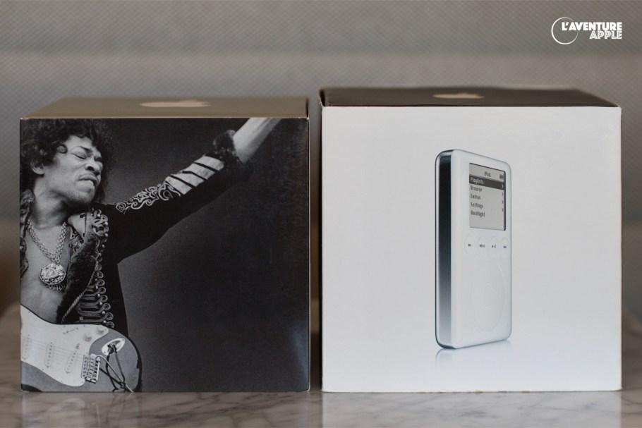 La boîte d'iPod 1G 10Go Jimi Hendrix, et celle de l'iPod 3G 15 Go