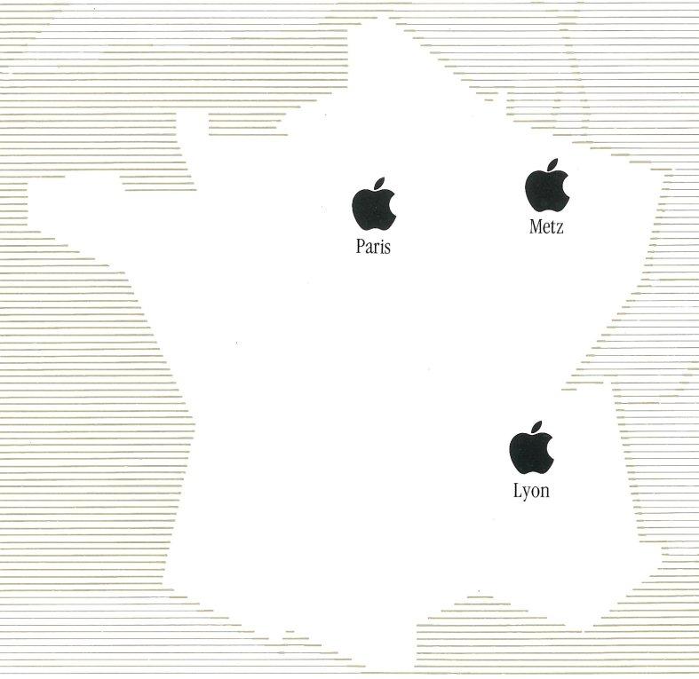 La carte de France d'Apple France (SEEDRIN) en 1984