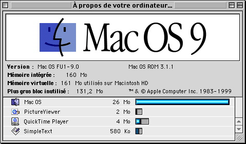 A propos de Mac OS 9 - Plus gros bloc inutilisé de mémoire