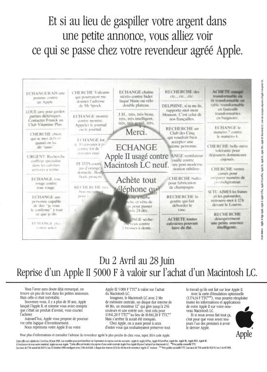 Publicité Apple : échange Apple II usagé contre LC neuf