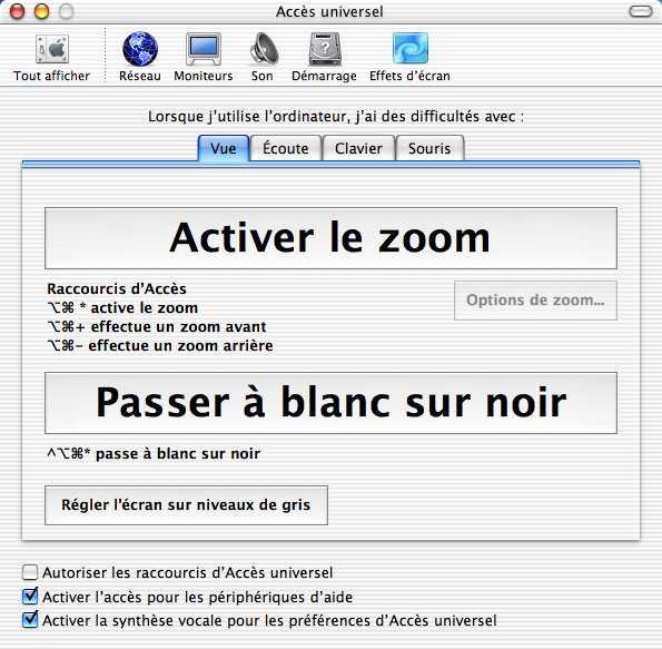 Réglage blanc sur noir, MacOS X