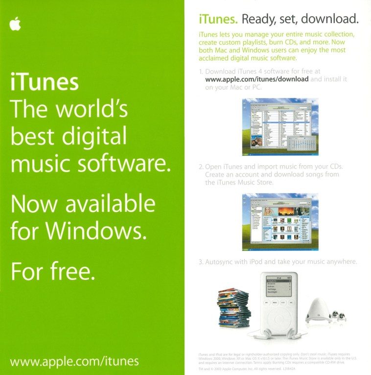 iTunes Windows 2003 flyer