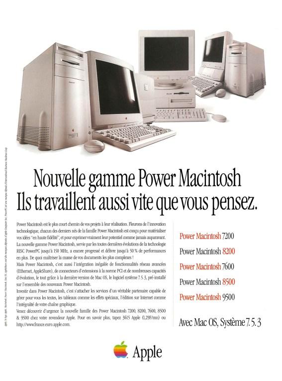 Publicité Apple Power Macintosh Gamme 1996