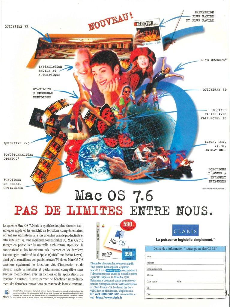 Mac OS 7.6 publicité France par Claris et Apple