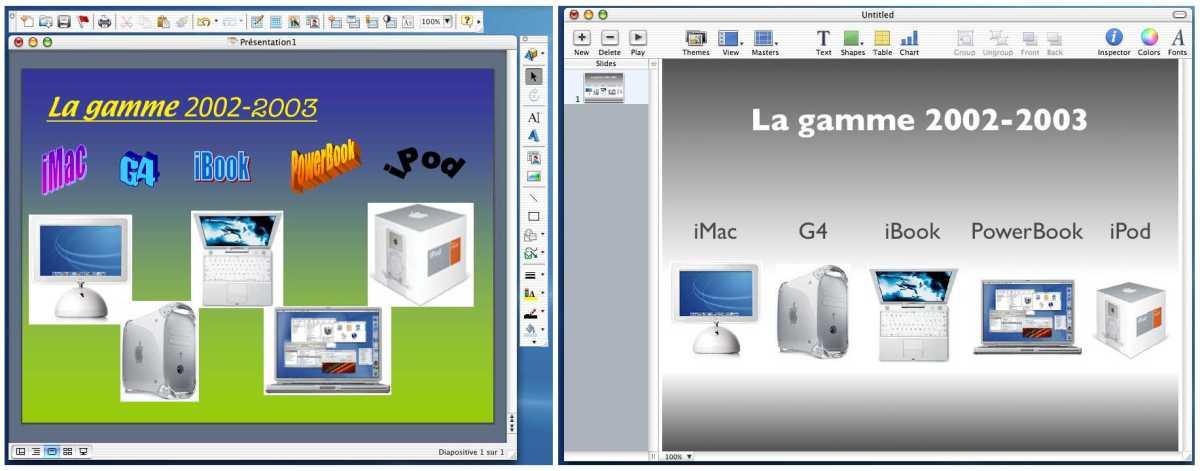Office X Mac VS Keynote 1.0
