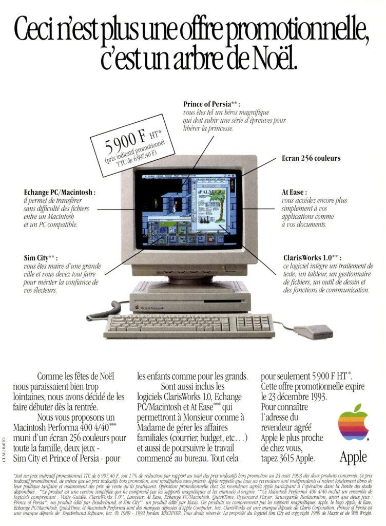 Publicité Apple Macintosh Performa 400 Sim City Prince of Persia