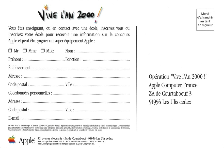 apple vive l'an 2000 - carte postale