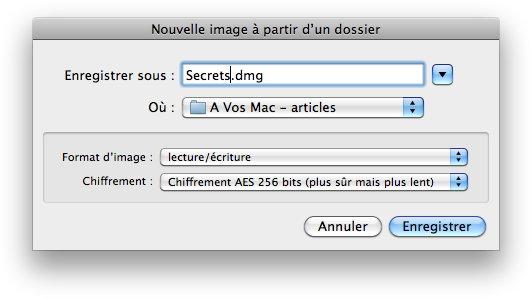 Utilitaire de disques, image disque, dossier secret