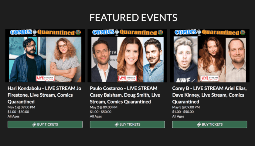 Feature events page listing comedians participating in the live stream.