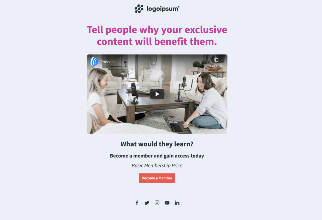 Exclusive content landing page
