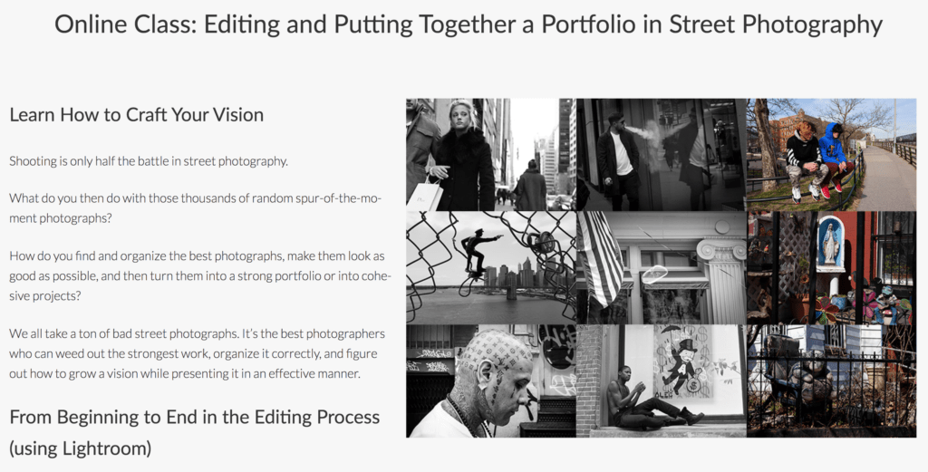 Landing page for the online class: Editing and Putting Together a Portfolio in Street Photography