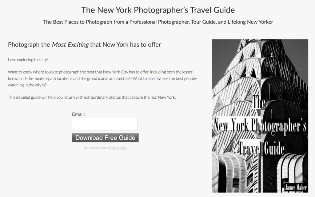 The New York Photographer's Travel Guide sign up form.