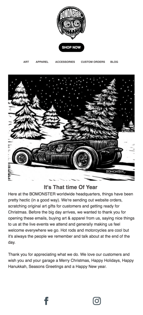 Holiday email from BOMONSTER with a Santa hot rod graphic.