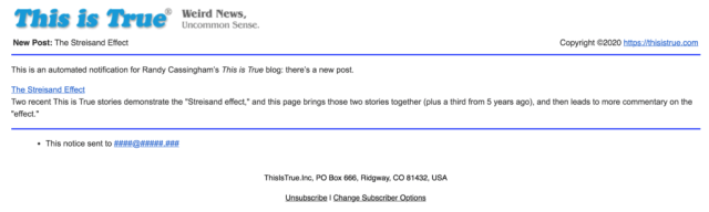 Example of This is True new blog post notification.