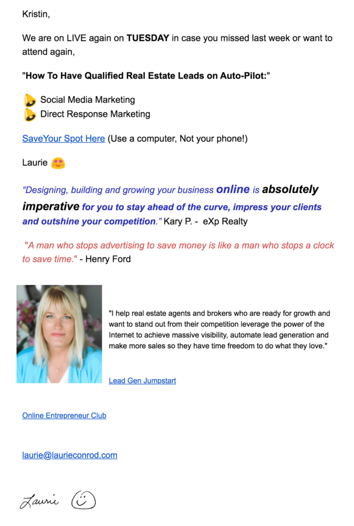 An example of an email sharing a link to watch a Freedom Digital Marketing video.