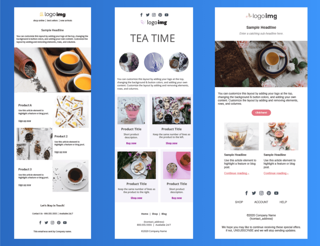 Examples of the Tea Time email template to design to sell products.